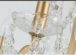 Modern Chandelier Lights Crystal Gold With LED Candle Stick Home Serenity Decor