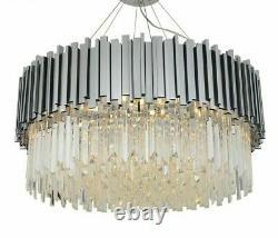 Modern Chandeliers Lighting Polished Steel Crystal Lamp Luxury Round Pendant