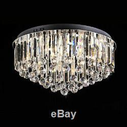 Modern Clear Crystal Glass LED Luxury Ceiling Lights Flush Mount 48/65/80cm Loft