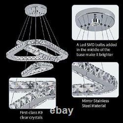 Modern Crystal Chandelier, 3 Rings Heart-Shaped Led Ceiling Light Flush Mount
