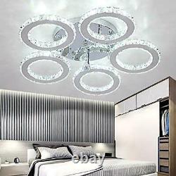 Modern Crystal Chandelier, 5 Rings Led Ceiling Light Flush Mount Stainless Steel