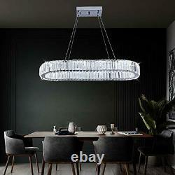 Modern Crystal Chandelier, Oval Led Ceiling Light Flush Mount Stainless Steel