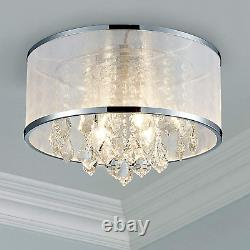 Modern Crystal Drum Chandelier Lighting Flush Mount LED Ceiling Light Fixture 4