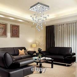 Modern Crystal Raindrop Chandelier Lighting Flush Mount LED Ceiling