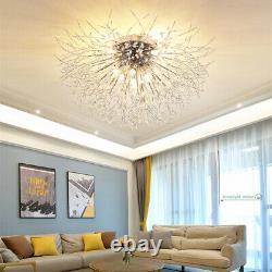 Modern Dandelion Ceiling Light LED Crystal Firework Flush Mount Chandelier Lamp