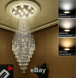 Modern Dimmable LED Clear Crystal Flushmount Chandelier staircase Ceiling Light