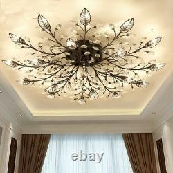 Modern Flush Mount Home Gold Black LED Crystal Ceiling Chandelier Lights Fixture
