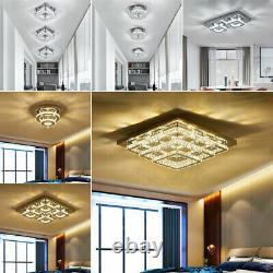 Modern LED Crystal Ceiling Light Flush Mount Chandelier Lamp Living Room Bedroom