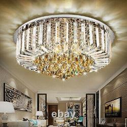 Modern LED Crystal Glass Prisma Round Dinning Ceiling Lights Flush Mount Bedroom
