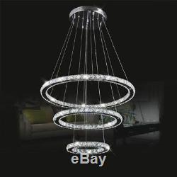 Modern LED K9 Crystal Chandelier Pendant Lamp Flush Mount Ceiling Light Fixture