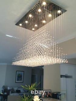 Modern LED Rain Drop Crystal Lamp Flush Mount Ceiling Light Dining Room 100cm