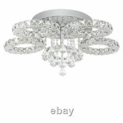 Modern Large 5 Rings Crystal LED Ceiling Light Flush Mount Crystal Chandeliers