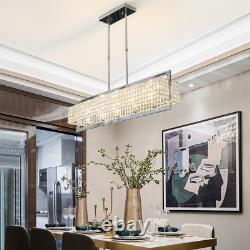 Modern Luxury Clear Crystal Rectangle Chrome Chandelier Lighting Led Lamps Home