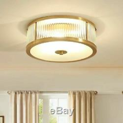 Modern Luxury Crystal Glass Rods Golden Round Ceiling Lights Flush Mount Bedroom