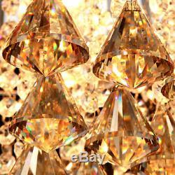 Modern Luxury Golden Teak Crystal Ball Clear Crystal Prismas Ceiling Flush Mount