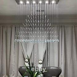 Modern Rain Drop Crystal Rectangle Chandelier / Flush Mount / Ceiling Light for