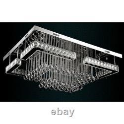 Modern Rectangular Large LED Crystal Ceiling Light Chandelier Lamp Dimmable