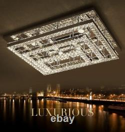 New LED Remote Control Crystal Rectangle Ceiling Lights Pendant Lamp Chandelier