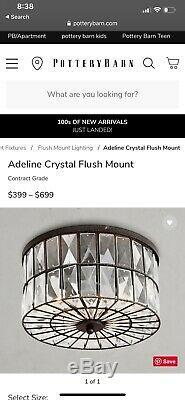 NewPottery Barn Adeline Crystal Flush Mount Flushmount 12.5
