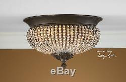 Pair Des15 Crystal Beads Bronze Iron Flush Mount Ceiling Chandelier Light