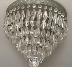 Pair Vintage Mid-Century MODERN CRYSTAL Silvered Flush Mount Fixtures CHANDELIER