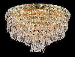 Palace 5th Ave 14 4 Light Crystal Chandeliers Flush Mount Light Gold
