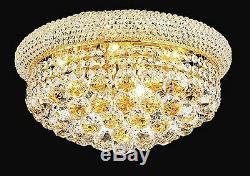 Palace Bagel 16 8 Light Flush Mount Crystal Chandelier Ceiling Light Gold