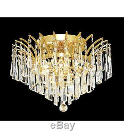 Palace Flamingo 6 Light Flush Mount Crystal Chandelier Lighting Gold Fixture