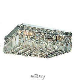 Palace Park Ave 5 Light 14 Square Crystal Chandelier Flush Mount Ceiling Light