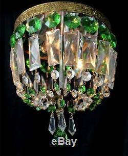Petite 9 x 9 Vintage Emerald Green, Crystal, Flush to Ceiling Basket Chandelier