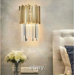Postmodern Luxury Crystal Wall Lamp Golden Bar Wall Sconces Light Bedroom Halls
