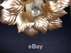 Pretty Vintage PAIR of Italian Toleware Single Light Gilded Mount Flush Lights