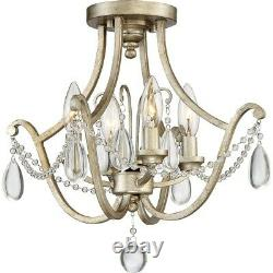 Quoizel 4 Light Regent Semi-Flush Mount, Vintage Gold REG1716VG