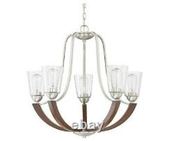 Quoizel Holbeck Brushed Nickel & Wood 5-light Contemporary Chandelier NEW in Box