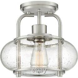 Quoizel Trilogy 1 Light Semi-Flush Mount, Brushed Nickel TRG1710BN