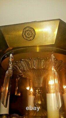 RARE Italian Vintage Spanish Brass Semi Flush Mount 4L Crystal Chandelier