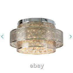 RRP £199 Debenhams Brass Glass Crystal'Cordelia' Flush Ceiling Light Pendant