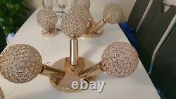 Rose gold & crystal semi-flush mount lights. 2 triple mount and 2 singles mount