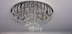Round Crystal Chandelier Flush Ceiling Mounted
