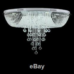 Round Rain Drop Crystal Glass Flush Mount Chandelier Ceiling LED Pendant Light