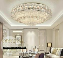 Round chandeliers 3 color LED Flush Mount K9 clear crystal bedroom ceiling lamps