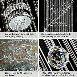 SEFINN FOUR 3 Flush Mount Light LED Spiral Sphere Rain Drop Crystal Chandelie