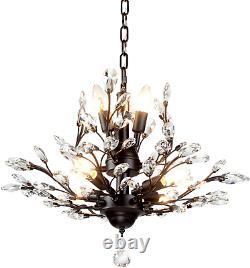 SEOL-LIGHT Vintage Crystal Branch Chandeliers Black Ceiling Pendant Light Flush