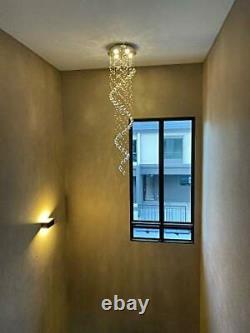 SPARKSOR Modern Crystal Spiral Raindrop Chandelier Lighting Flush Mount LED
