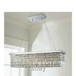 Saint Mossi Modern K9 Crystal Rectangle Raindrop Chandelier Lighting Flush Mount