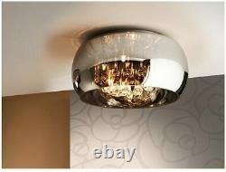 Schuller Argos 5-Light Ceiling Bowl Flush Mount with Crystals Drops, Glass Shade