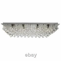 Searchlight 8 Lights Chrome Crystal Balls Rectangle Flush Ceiling Chandelier New
