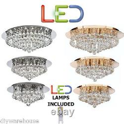 Searchlight Led Hanna Semi Flush Crystal & Polished Chrome Or Gold Ceiling Light