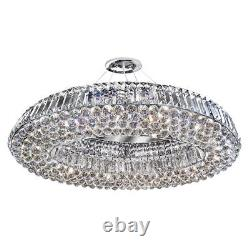 Searchlight Safia 10 Light Modern Chrome Oval Crystal Ceiling Fitting Chandelier
