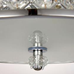 Semi Flush Ceiling LightChrome & Crystal3 Bulb Large Round Feature Lamp Holder